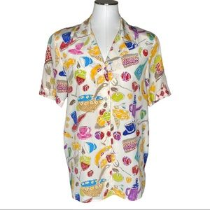 Vintage Ann May Multicolor Charcuterie Silk Button Down Blouse